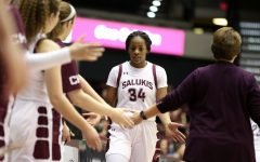 Saluki forward Nicole Martin returns to the bench on Friday, January 17, 2020, during the Salukis' dramatic 70-68 victory over the Missouri State Lady Bears at the Banterra Center.