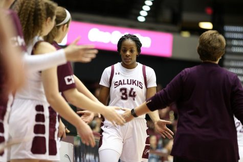 Saluki forward Nicole Martin returns to the bench on Friday, January 17, 2020, during the Salukis