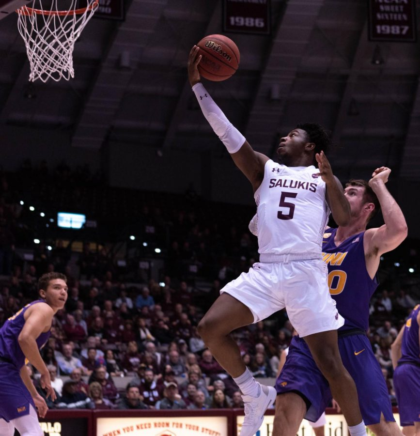 Saluki Freshman gurd Lance Jones goes for a basket during the Southern Illinois University vs University of Nothern Iowa  Wednesday January 22, 2020 game in SIU's Bantera Arena. The game ended at 68 SIU and 66 UNI.