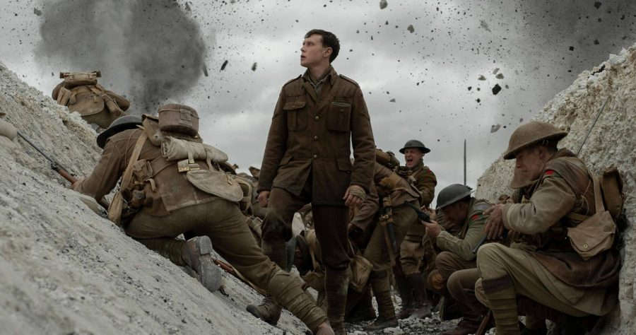 George MacKay, center, as Lt Corp Schofield in Sam Mendes' epic