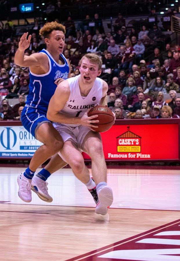 Salukis forward Marcus Domask drives hard into the paint during the Salukis 66-49 win over the Drake Bulldogs on Sunday, Jan. 19, 2020 in the Banterra Center.