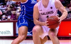 Salukis forward Marcus Domask starts his jump for the rim as the Salukis would go on to win 66-49  over the Drake Bulldogs on Sunday, Jan. 19, 2020 in the Banterra Center.
