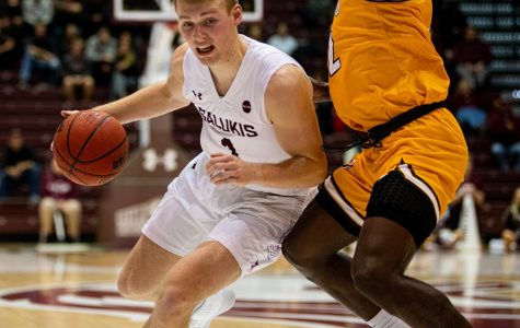 Freshmen Marcus Domask drives towards the basket SIU's 63-50 win vs. Valparaiso on Tuesday, Jan 7, 2020 at the Banterra Center.