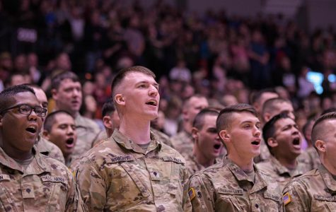 Members of the Illinois National Guard 2nd Battalion 130th Infantry Regiment sound off during the mobilization ceremony on Tuesday, Jan. 21, 2020 in the Banterra Center in Carbondale, IL.