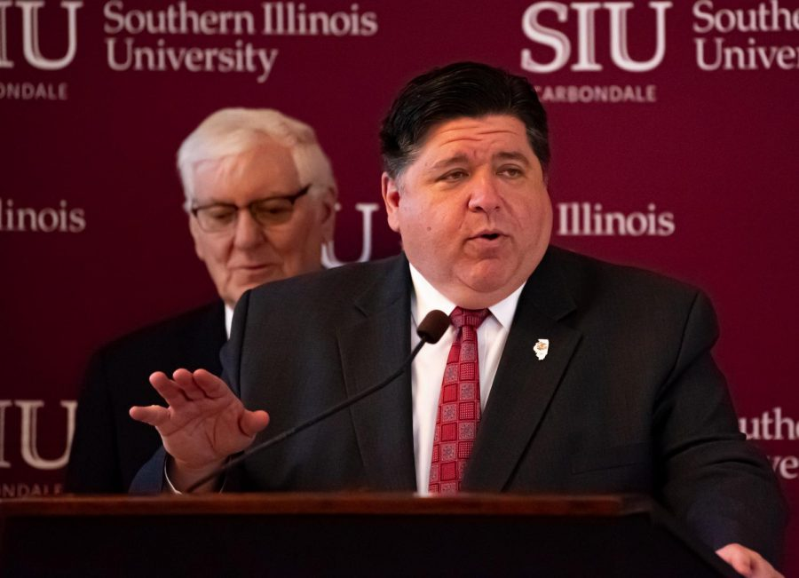 Gov. J.B. Pritzker's announces of the launch of a new Department of Children and Family Services training center at SIU on Thursday, Feb. 27, 2020 at the Student Services building at SIU.