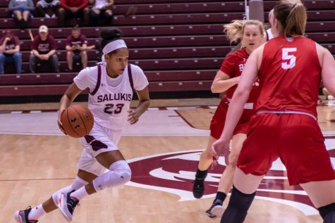 Guard Kristen Nelson flies down the floor in a game against Bradley, SIU takes the win 60-54.