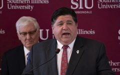 Gov. J.B. Pritzker addresses the crowd during his visit at SIU to announce the launch of a new Department of Children and Family Services training center at SIU in partnership with the School of Medicine on Thursday, Feb. 27, 2020 at the Student Services building at SIU.