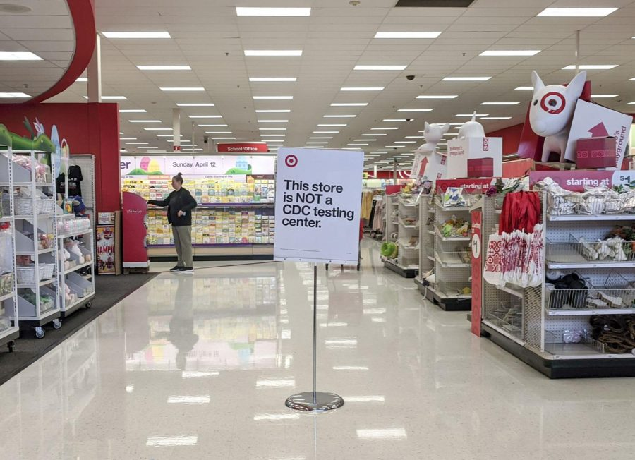 A sign stands at the entrance of a Target store in Overland Park, Kansas on Monday, March 23. Select Target locations will offer testing for coronavirus, according to a Target press release, but those locations have not yet been determined.