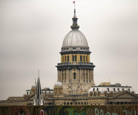 Illinois State Capital building seen from a rooftop in downtown Springfield, IL on Tuesday, Mar. 10, 2020.