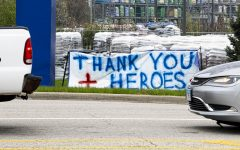 An old advertisement banner is converted into a  sign to thank heroes for continuing their work during COVID-19 on Apr. 17, 2020 at Lowe's in Springfield, IL