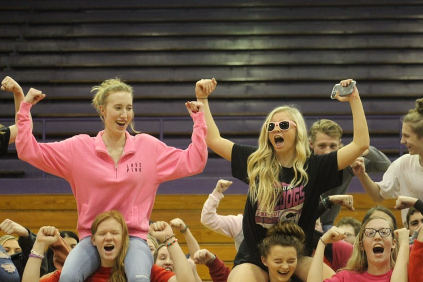 Students at Harrisburg High School in Harrisburg, Illinois participate in a pep rally. Photo by Emma King.