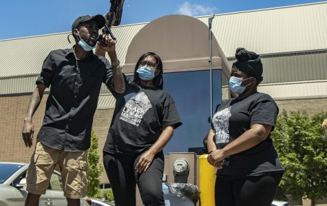 Shawn Gregory, Springfield's Ward 2 Alderman (left) and  Sunshine Clemons Black Lives Matter organizer (middle) give speeches right before Sunday's Solidarity Procession on May 31st, 2020 in Downtown Springfield, IL.