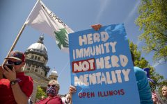 A protestor displays a sign during the statewide Reopen Illinois protest on Friday, May 1, 2020 in Springfield, IL.