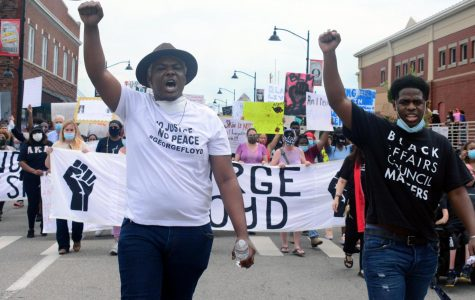 Michael Coleman and Travis Washington, lead the Black Lives Matter march Friday, June 5, 2020 down South Illinois Ave.