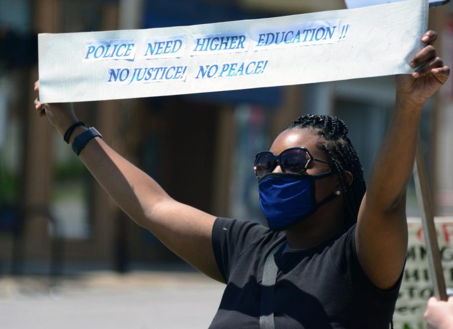 Brittany Scott, 30, rallying for the Black Lives Matter movement at the Peace and Justice monthly vigil held by the Peace Coalition of Southern Illinois, Saturday, June 6, 2020, Carbondale, ILL.