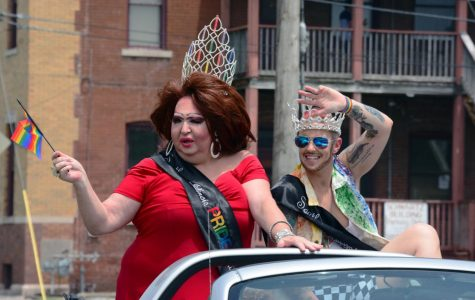 Southern IL Pride Queen, Blanche Dubois, and King, Faim Lee Jewls, of 2019-2020 lead the drive-thru Pride parade, June 28, 2020, Carbondale, ILL.