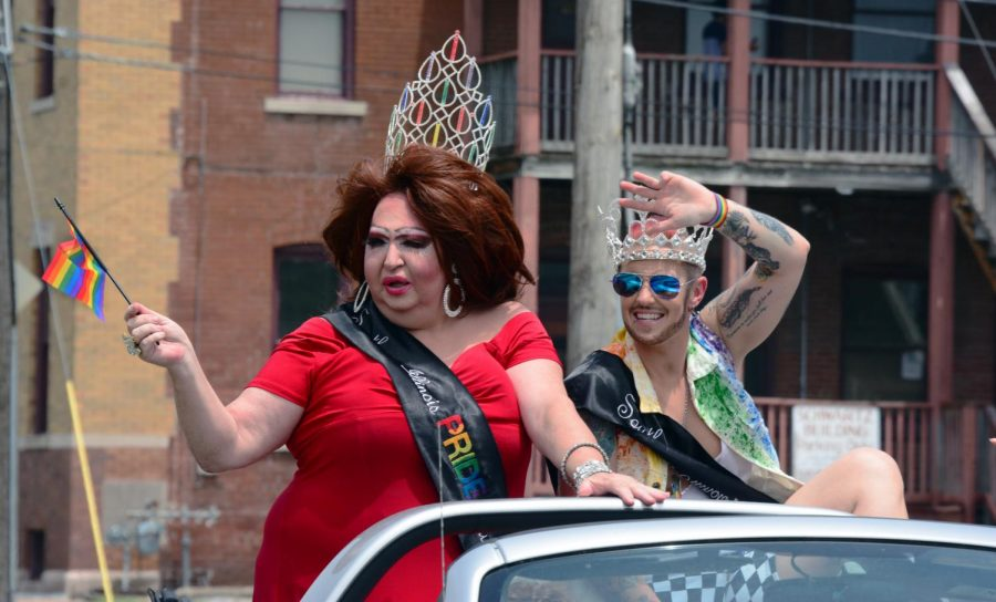 Southern Illinois Pride Queen, Blanche Dubois, and King, Faim Lee Jewls, of 2019-2020 lead the drive-thru Pride parade, June 28, 2020, in Carbondale, Ill.