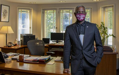 SIU chancellor, Austin Lane, poses for a portrait in his office on Monday, Aug. 17, 2020 in Anthony Hall at SIU.
