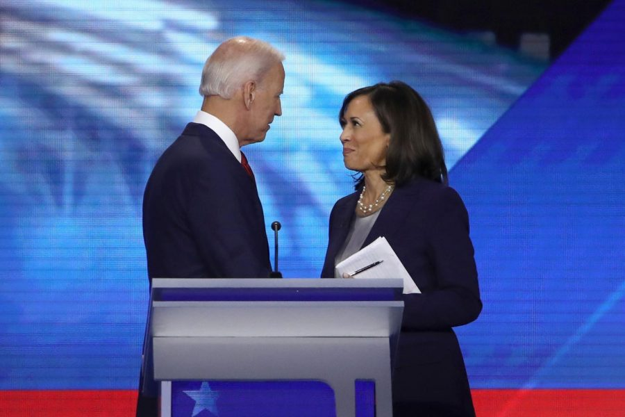 Democratic presidential candidates former Vice President Joe Biden and Sen. Kamala Harris (D-CA) speak after the Democratic Presidential Debate at Texas Southern University's Health and PE Center on Sept. 12, 2019 in Houston, Texas.