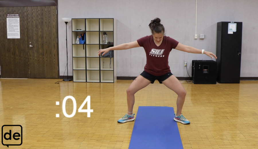 SIU Student Recreation Center trainer, Mariela D'Alessandro hosts the third video in the Daily Egyptian Youtube series that helps students stay active while safely at home or in their dorm rooms. This week, the workout video targets the lower body without the need for any equipment.