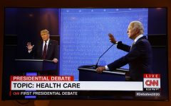 President Donald Trump and Democratic presidential nominee Joe Biden participate in the first presidential debate at the Health Education Campus of Case Western Reserve University, on Tuesday, Sept. 29, 2020, in Cleveland.