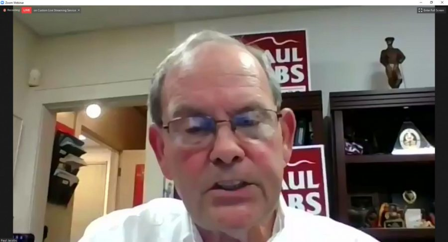 """Candidate for the office of the 115th Illinois  Representative, Paul Jacobs, discusses small businesses in Illinois via Zoom on Thursday, Sept. 30, 2020. """"If you can get the businesses to open, you're going to be better. But there's like I said, 6,000 are not going to open. But it's going to open a group of entrepreneurs. A bunch of younger entrepreneurs that are going to be able to come in and look at the benefit of buying these very inexpensive properties and very possibly, if  the government doesn't tax them to death, there will be a renaissance in the state. I truly do believe that,"""" Jacobs said."""