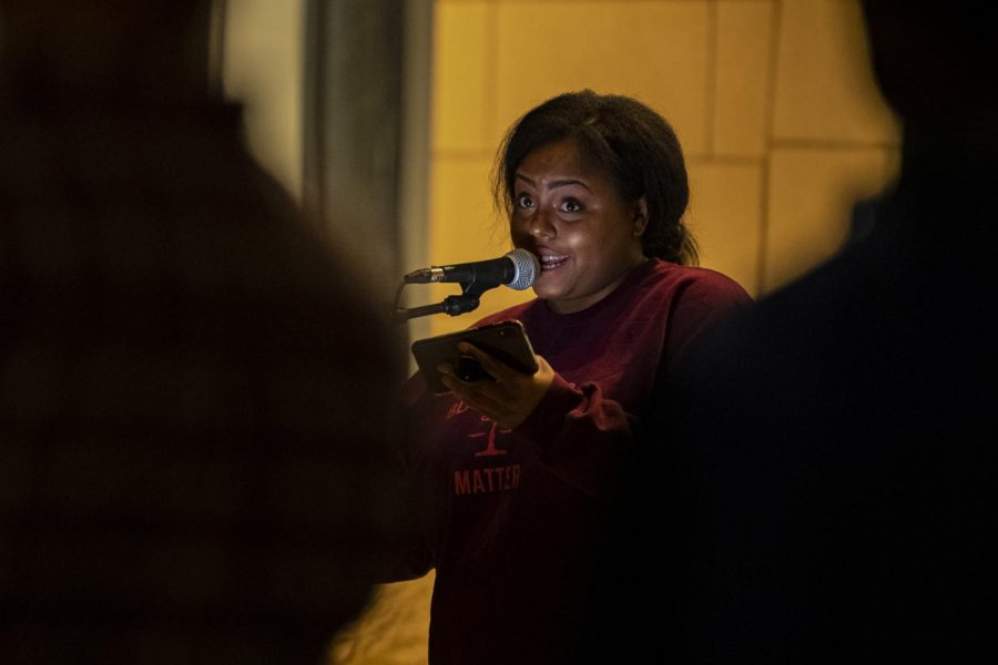 Co-organizer Jerricha Griffin, a Law student at SIU, speaks during the Justice for Breonna Taylor event at the Carbondale police station on Friday, Oct. 2, 2020, in Carbondale, IL. Griffin speaks about the disrespect that Black women face in today's society.