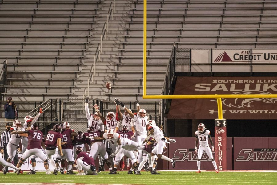 SIU kicker, Nico Gualdoni, kicks a field goal for the extra point attempt to give SIU the win. Gualdoni went 2 for 2 in field goals including this game winning 27-yard field goal during the Salukis' 20-17 win over the Redhawks on Friday, Oct. 30, 2020 at Saluki Stadium in Carbondale, Ill.