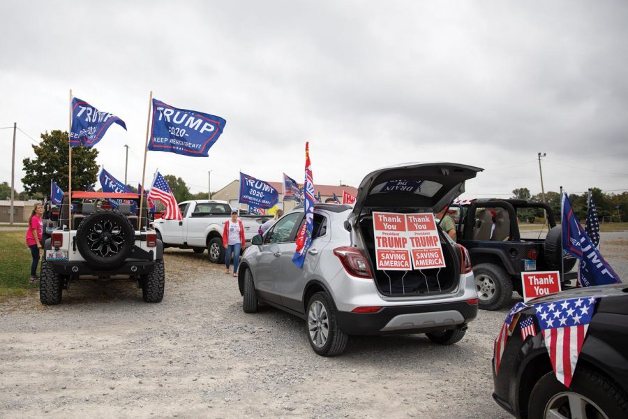 Trump supporters gather in an empty lot in Anna, Ill. for the Trump Train on Saturday, Oct. 10, 2020.