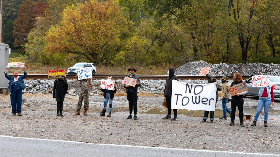 Protestors gather across from the Makanda Boardwalk at the planned site for a Canada National Railroad 185-foot, communications tower Tuesday, Oct. 21, 2020.