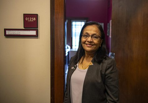 Dr. Meera Komarraju, SIU's interim Provost and Vice Chancellor for Academic Affairs poses for a photo outside of her office on Friday, Oct. 2, 2020 in Anthony Hall at SIU.