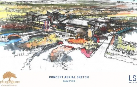Sketch of the proposed Walker's Bluff Casino and Resort.