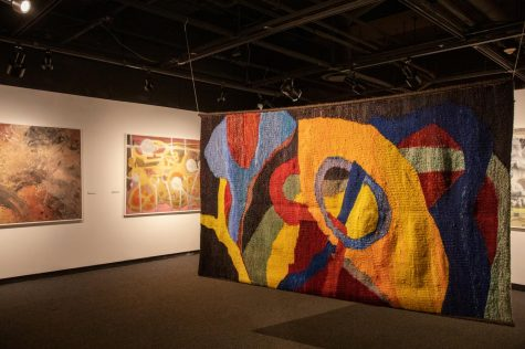 "The SIU art museum features an exhibit filled with Richard Cox's recent artwork on Wednesday, Sept. 9, 2020, in Carbondale, ILL. Cox weaved together wool, hand-dyed, and mohair to create ""No Title."""