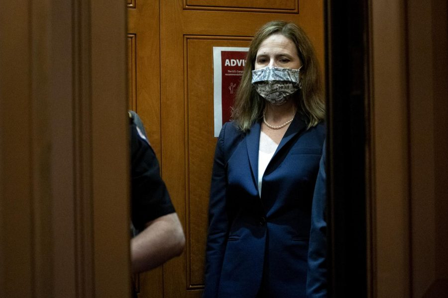 Supreme Court nominee Judge Amy Coney Barrett departs the U.S. Capitol on October 21, 2020 in Washington, DC. President Donald Trump nominated Barrett to replace Justice Ruth Bader Ginsburg after Ginsburgs death.