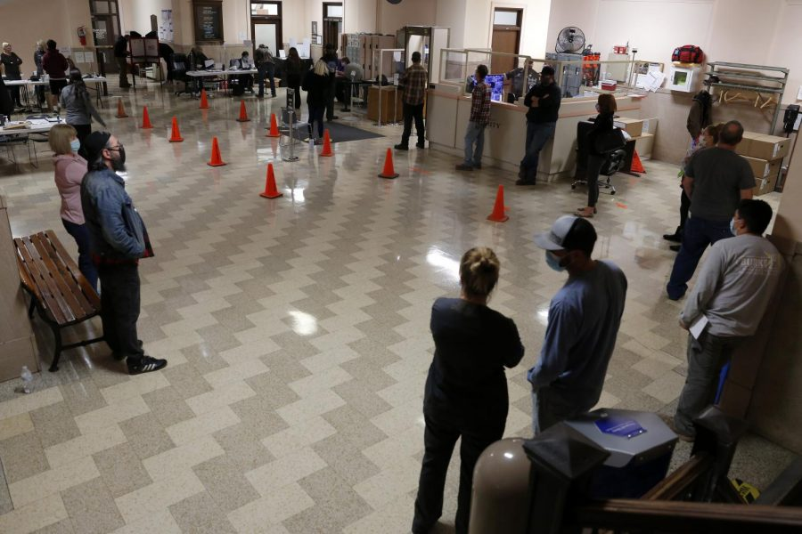 Last-minute voters wait in line at the Jackson County Courthouse in Murphysboro on election day, Tuesday, Nov. 3, 2020.
