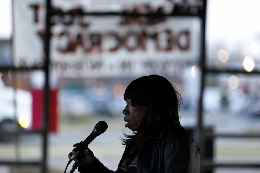 Co-founder of the Southern Illinois Unity Coalition, Nancy Maxwell, addresses a group of about 40 protestors during a rally against the status quo in American politics, organized by various local activist groups on the day after the election, Wednesday, November 4, 2020, in Carbondale, IL.  Maxwell said black people have been in a pandemic for 400 years and,