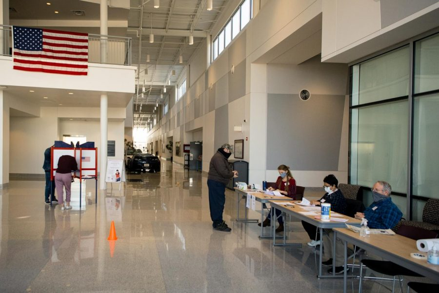 Voters fill their ballots at the SIU Transportation Education Center Tuesday, November 3, 2020, in Murdale, Illinois.
