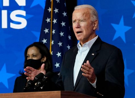 Democratic presidential nominee Joe Biden speaks while flanked by vice presidential nominee, Sen. Kamala Harris (D- California), at The Queen theater on Thursday, Nov. 5, 2020 in Wilmington, Delaware. Biden attended internal meetings with staff as votes are still being counted in his tight race against incumbent U.S. President Donald Trump, which remains too close to call.