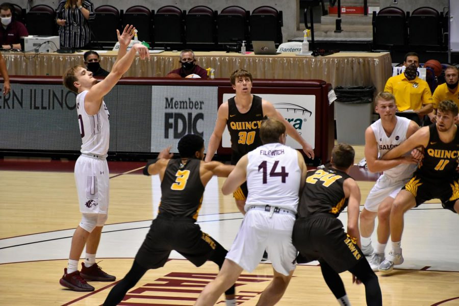 Ben Harvey shoots the ball in the SIU vs. Quincy game at the SIU Banterra Center Sunday, Dec. 6, 2020. SIU won with a final score of 102-61.