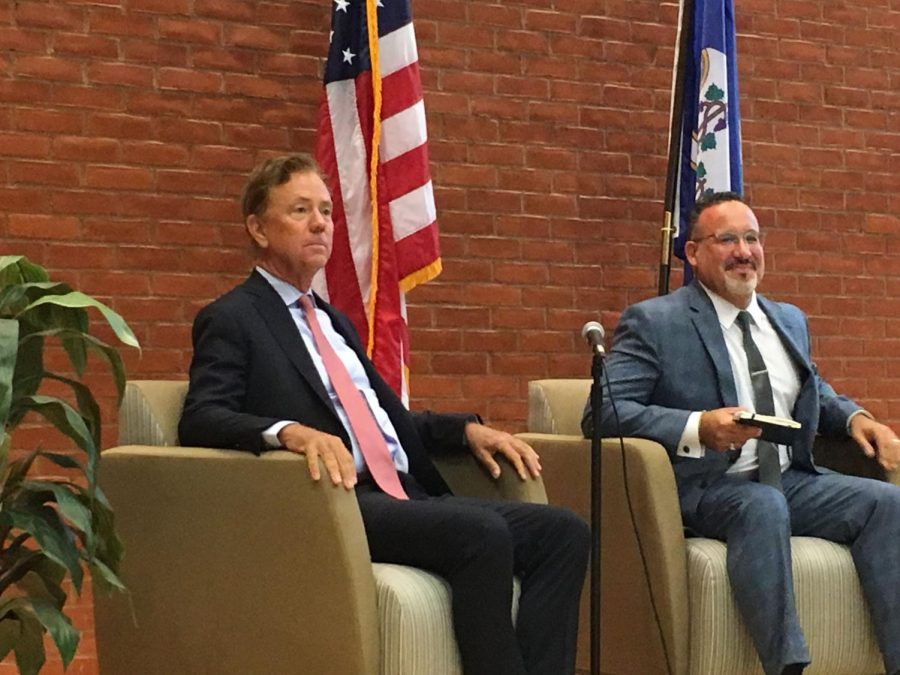 Connecticut Gov. Ned Lamont and Miguel Cardona, the state's education commissioner, talked during a forum on improving public school education.