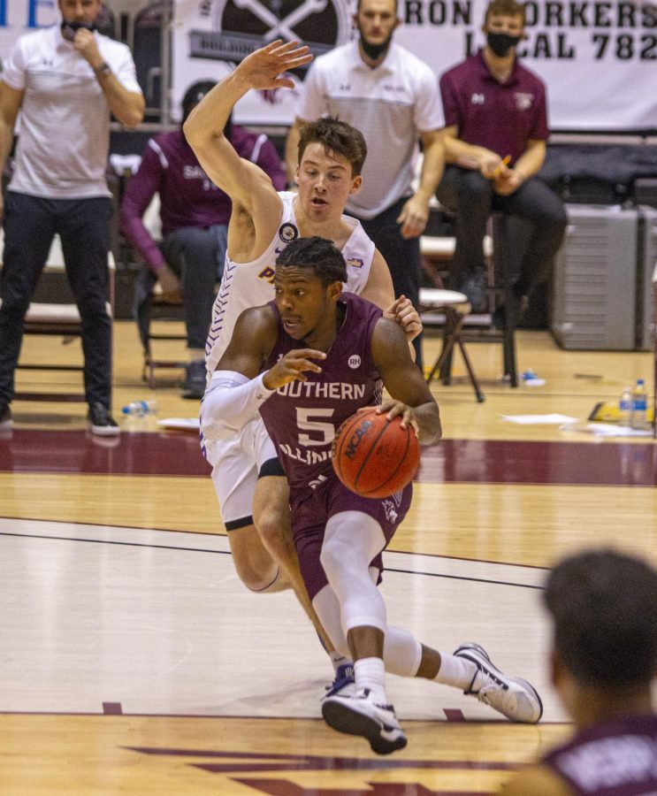 SIU guard Lance Jones drives hard into the lane vs. Northern Iowa on Sunday, Jan. 31, 2021 in the Banterra Center at SIU. Jones score 27 points in the Salukis 71-68 win over the Panthers.