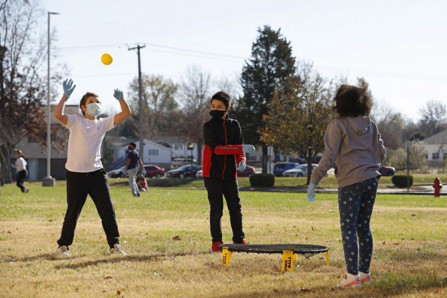 Students at the Carbondale Middle School, Alexi K., Nath W. and Marley S. participate in games during their physical education class on the last day of in-person learning, Friday, November 13, 2020. Because of the Covid-19 pandemic, the Carbondale school district began the school year with remote learning but then resumed in-person learning at the end of October.  Two weeks later, the school district decided to return to remote learning due to the surge in cases in the past ten days, both in Illinois and nationally.
