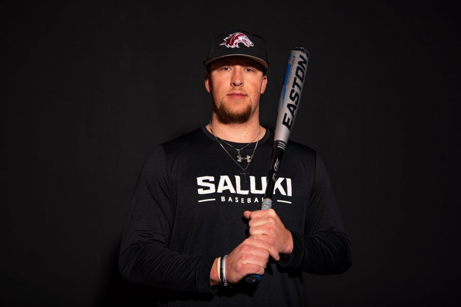 Philip Archer, first baseman on the SIU baseball team, poses for a portrait Thursday, Jan. 28, 2021 at SIU. Archer was off to a hot start in 2020, where he had a batting average of .344 in 18 games before COVID-19 uprooted the season. Archer has played for SIU for the last two years since transferring from Olney Central College. The 2020 season was Archer's senior year, but it was cut short because of the COVID-19 pandemic. He will return to compete this spring for the 2021 season.