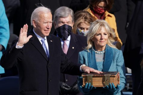 Joe Biden is sworn in as U.S. president during his inauguration on the West Front of the U.S. Capitol on Jan. 20, 2021, in Washington, D.C. (Alex Wong/Getty Images/TNS)