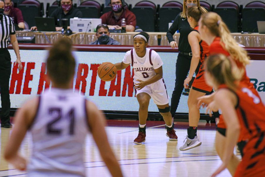 Freshman Quierra Love sets up a play during the game vs. Illinois State on Friday, Feb. 5, 2021 in the Banterra Center at SIU. Salukis' went on to lose 50-57 to the Redbirds.