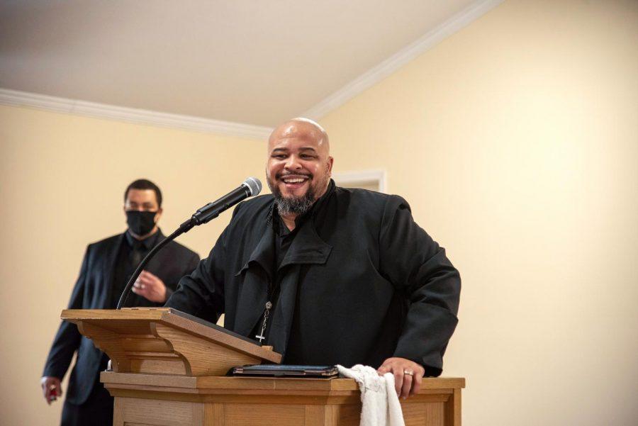 Zion Temple COGIC church's senior pastor, Stephen Robinson Jr., preaches in the church Sunday, Feb. 8, 2021, in Murphysboro, Ill.