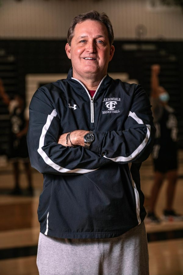 Jim Miller, head coach of the Carbondale Terriers basketball team poses for a portrait Monday, Feb. 8, 2021 at Carbondale Community High School. Coach Miller is set to retire after this season.