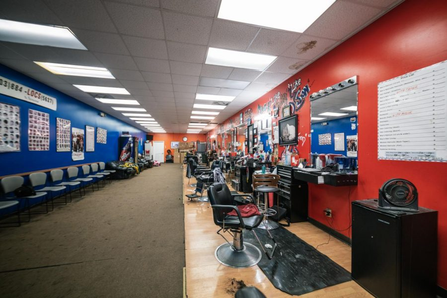 The interior of Kampus Kuts Thursday, Feb. 11, 2021 in Carbondale, Ill. Quivon Bledsoe is a barber at Kampus Kuts who has been working there since 2017. Chris Bishop | @quippedmediallc