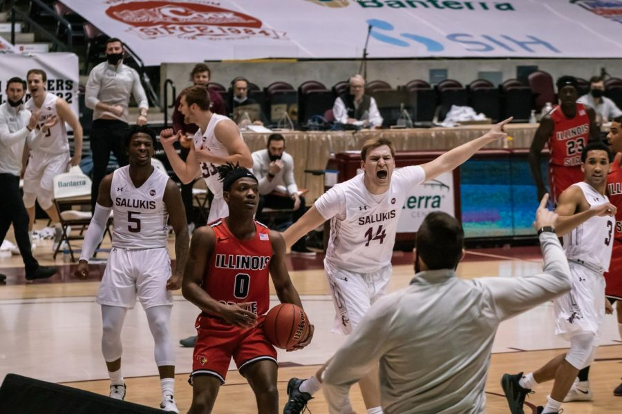 Kyler Filewich (14) gets excited after scoring in a game against Illinois State University Sunday, Feb. 14, 2021, at the SIU Banterra Center.