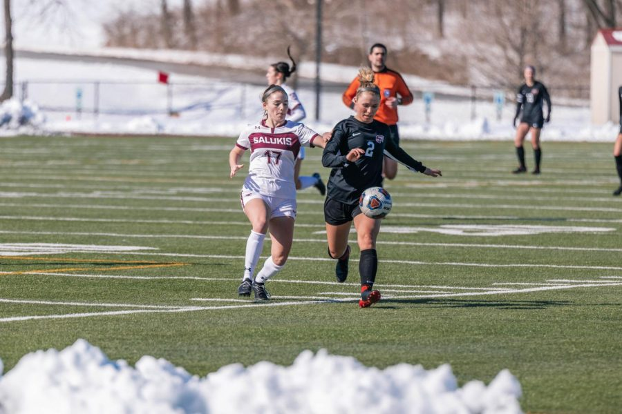 Kathryn Creedon (17) battles for the ball in a game against Western Kentucky University Saturday, Feb. 20, 2021 at SIU.